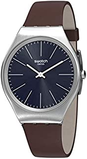 Swatch Womens Analogue Quartz Watch with Leather Strap SYXS106C