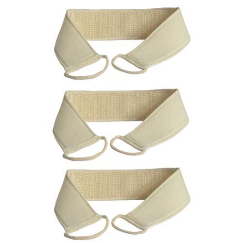 EXCEART 3 Piezas Exfoliante Fregador Trasero Limpieza Trasera Correa de Ducha Toalla de Baño Loción Aplicador Cepillo de Masaje para El Cuidado de La Piel Beige