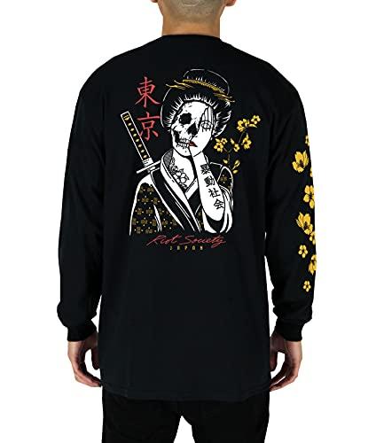 Riot Society Geisha Shame Mens Long Sleeve T-Shirt - Black, Large
