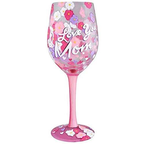 Lolita [Q3391 - Copa de Vino Artesanal 'I Love You Mum' Rosa púrpura - 21.5 cm.