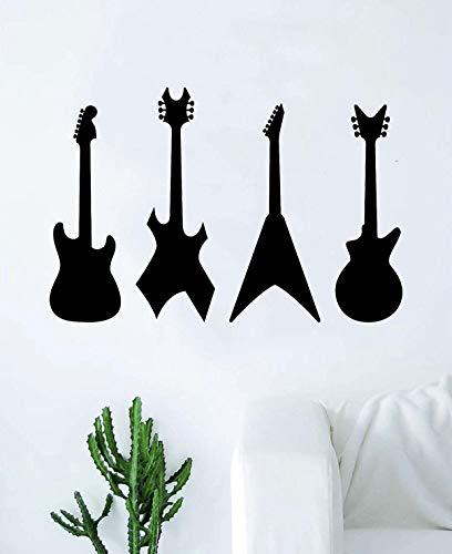 Gitaren v2 muursticker kunst vinyl woonkamer slaapkamer teeen muziek muziek muziek band mooie elektrische akoestiek