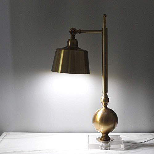 ZLININ Lámpara de mesa de metal de color cobre, lámpara de lectura de estudio, lámpara de noche de dormitorio, lámpara de mesa de gran tamaño, lámpara de mesa de cristal (E27 tornillo puerto) elegante