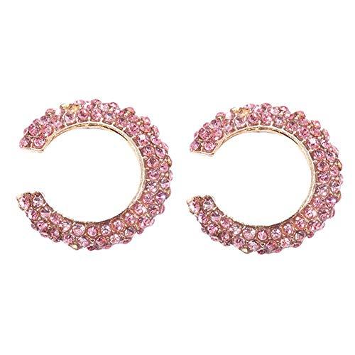 RIsxffp - Orecchini a clip da donna, senza buco, con strass, per cartilagine, a forma di C, per uso quotidiano, shopping, festa rosa