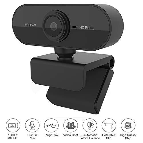 Drehbarem Webcam HD 1080P USB, Streaming Webcam mit eingebaut Mikrofone, Autofokus-Farbkorrektur, PC Webkamera für Laptop Desktop, TikTok, Skype, FaceTime, YouTube, Videoanrufe, Lernen, Konferenzen