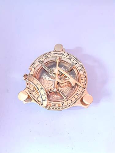 Messing-Sonnenuhr-Kompass, Antik-Look, 7,6 cm, goldfarben