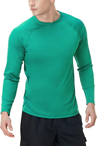 TSLA Camiseta de natación para hombre, UPF 50+, camiseta de manga larga holgada, secado rápido, Cool Running Workout SPF/UV, Hombre, Mss03 1pack - Funda para móvil, color verde, large