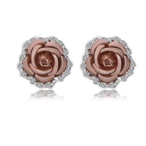LCUK Pendientes de botón de Flor Rosa para Mujer, Moda, Azul, Negro, Ramo Redondo, Cristal, Boda, Flor, Diamantes de imitación, joyería, Pendiente