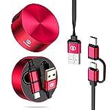 Micro-USB-Kabel & USB-Type C-Kabel, DesertWest 2 in 1 Einziehbares Ladekabel mit USB C Adapter auf Micro USB für Android Handys (Rot), MEHRWEG