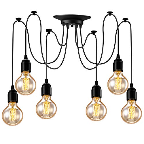 Asnxcju Industrial Pendant Lighting 6 Heads, Adjustable DIY Vintage Style Spider Semi Flush Mount...