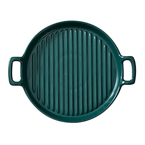 QKFON Cuenco de cerámica, plato redondo de cerámica de doble mango, se puede utilizar para postres, pasteles y aperitivos