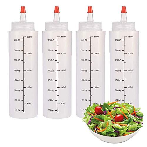 Gqavril12 Squeeze Flasche aus Kunststoff 250ml Plastik Quetschflasche Squeeze Flasche mit Kappe Plastik Dosierflasche Quetschflasche Squeeze Flasche mit Kappe für Ketchup/Senf/Mayo/Soßen (4 Stück)