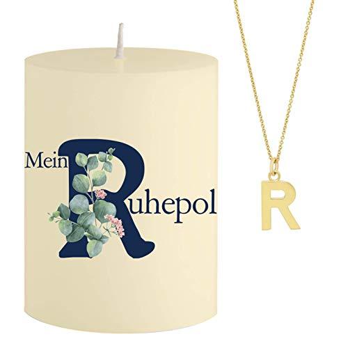 Schmuck-Krone - Vela con mensaje Mein Ruhepol - Collar oculto dorado con letra R - Vela aromática de sándalo naranja - Color amarillo - Regalo único