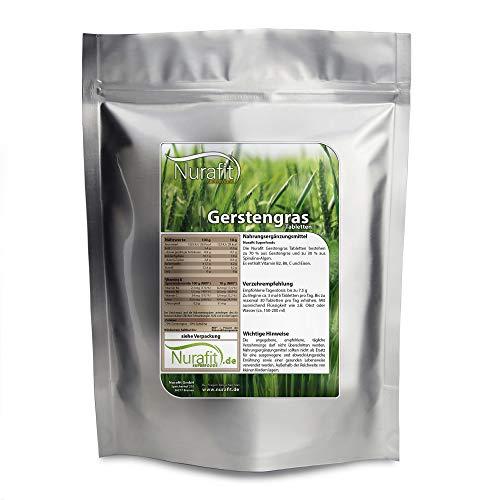 Nurafit Gerstengras Tabletten, 2000 Kapseln, enthält Vitamine und Proteine, rein natürliche Superfood Tabs Presslinge, Fitness-Ergänzung, mit Spirulina, 500g, 0.5kg