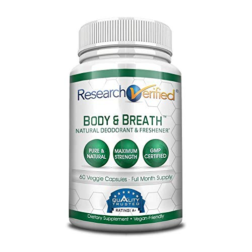 Research Verified Body & Breath Natural Deodorant & Freshener - Bad Breath & Body Odor Supplement - 60 Capsules (1 Month Supply)
