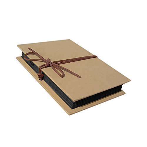 """Aspire Hardcover Kraft Paper Folding Scrapbooking DIY Photo Albums with Slots for 4"""" X 6"""" Photos - Black"""