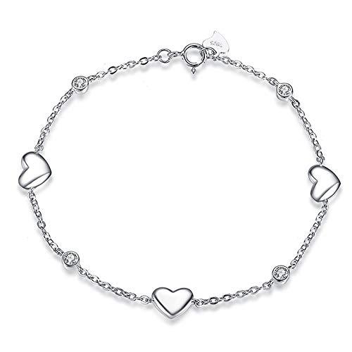 MxZas Armband liefde zonder einde van de vriendschap persoonlijkheid S925 zilver eenvoudig hart diamant handgemaakt sieraden vrouwen armband liefde zirkonia armband