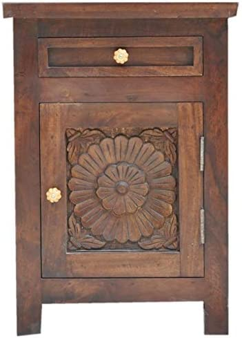 JUST Make San Antonio Mall IT India Cash special price Hand Bedside Wooden C Brown Carved