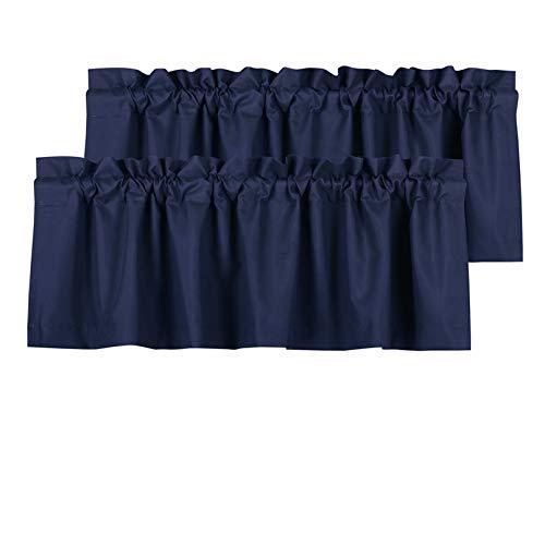 Valea Home Blackout Valance Curtains Waterproof Soft Rod Pocket Valance for Kitchen and Bathroom Window Room Darkening Valances for Bedroom, 2 Panels, 52 inch x 18 inch, Navy Blue
