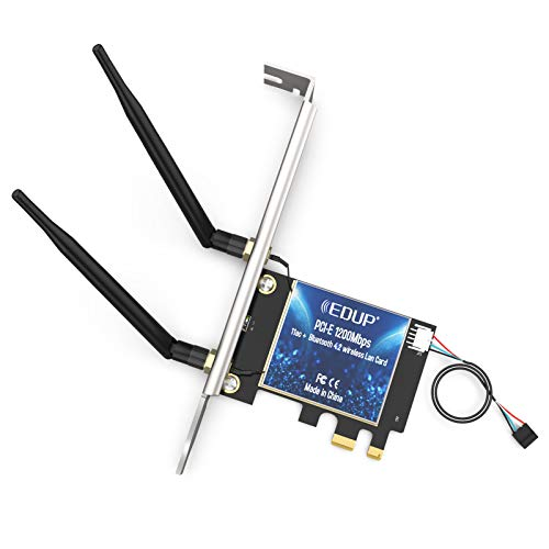 EDUP AC1200Mbps PCIe Wireless WiFi Network Card Bluetooth 4.2 Adapter 2.4G/5.8G Dual Band PCI Express Internet Networking Cards Support Windows 10/ Win 8.1/ Win 7 for Desktop PC Laptop