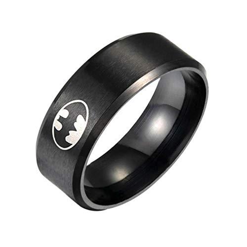 Milove 8MM Black Batman Symbol Ring
