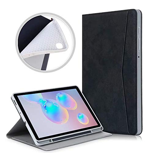 QiuKui Tab Cover For Samsung Galaxy Tab S6 Lite 10.4'' 2020, Tablet Case with Pencil Holder and Pocket Smart Sleep Stand for Galaxy SM-P610/P615 (Color : P610 Black)