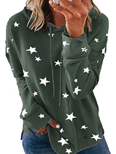 Sexy Dance Sudadera con capucha para mujer con estampado de estrellas, ligera, talla grande, túnica de manga larga