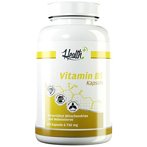 HEALTH+ Vitamin B5-120 Kapseln, 500 mg reine Pantothensäure pro Kapsel, B5 Vitamine für schöne Haut & starke Nerven, effektiver Talgregulator, Vitamin B Nahrungsergänzungsmittel - Made in Germany