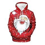 FELZ Navidad Hombre Sudadera con Capucha Casual Suéter con Capucha de Hombres 3D Navidad Papá Noel...