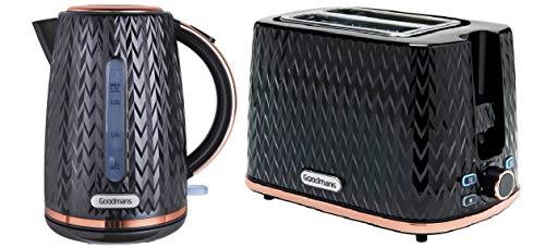 Toaster mit 2 Scheiben und 1,7 l Wasserkocher, strukturiert, Schwarz und Rotgold