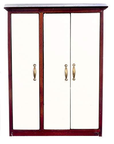 Melody Jane Puppenhaus Modern Kleiderschrank Mahagoni Weiss Miniatur 1:12 Schlafzimmer Möbel