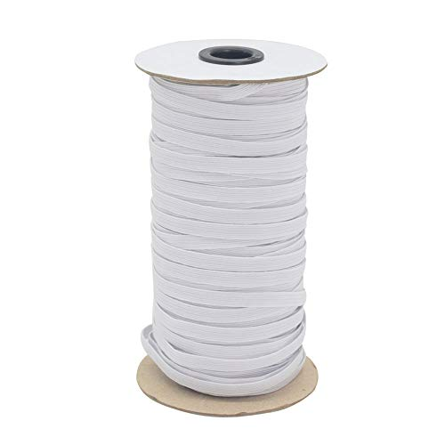 White 70-Yards Length 1/4' Width Braided Elastic Cord/Elastic Band/Elastic Rope/Bungee/White Heavy Stretch Knit Elastic Spool with Free Tape Measure