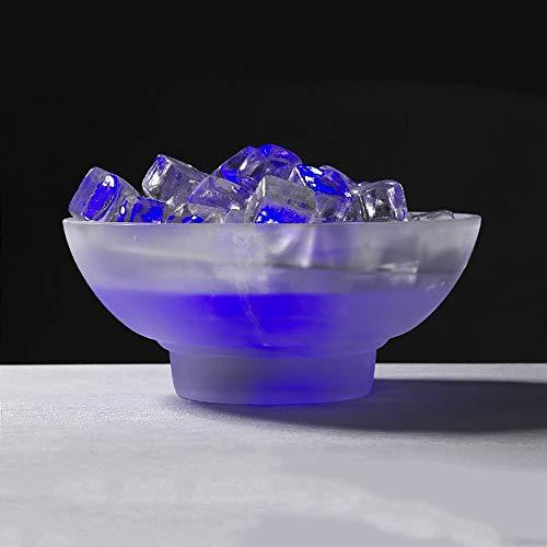 Dapo Beleuchteter Tischnebler blau mit Glas Eiswürfeln und Glasschale Ice Luftbefeuchter