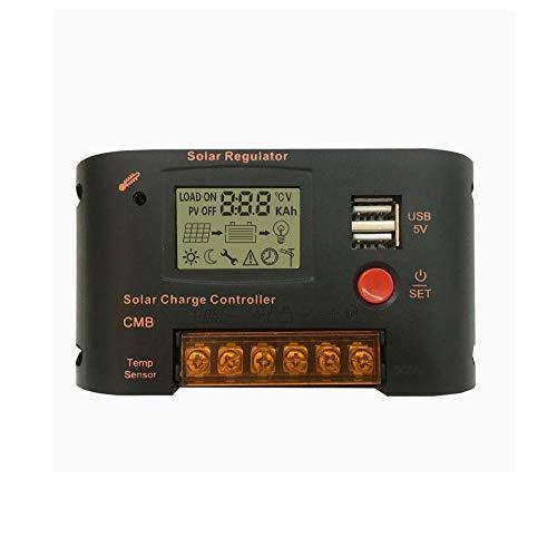 MING-MCZ Duradero PWM Solar Cargador Controlador 12V 24V Auto LCD Pantalla Dual USB 5V 2A Regulador Solar de Salida con luz y Control de Tiempo 10A / 20A Fácil de Montar (Color : 10 A)