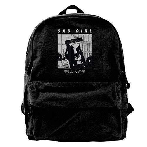 Yuanmeiju Mochila de Lona Sad Anime Girl Japanese Babe Otaku Girls Boys Backpacks Canvas Book Bags
