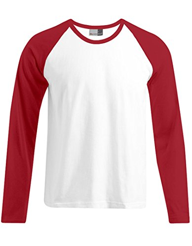 Promodoro - Baseball Shirt Heavy Jersey XL,White/Fire Red