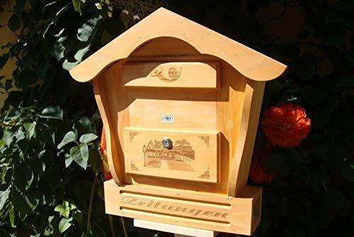 BTV Toller Briefkasten, Holzbriefkasten HBK-SD-Hellbraun aus Holz in Amazon Hellbraun braun Briefkästen Postkasten Spitzdach