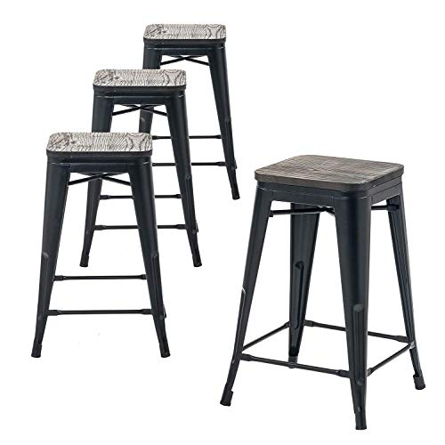 Buschman Metal Bar Stools 24 Counter Height, Indoor/Outdoor, Stackable, Set of 4 (Bronze with Premium Wooden Seat)