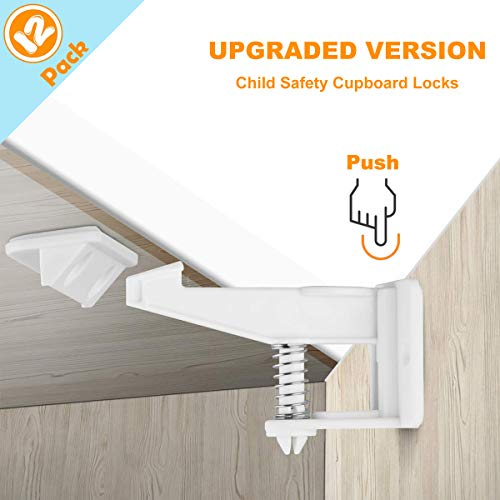 Child Safety Locks, 12 Pack Child Safety Cupboard Locks, Invisible and...