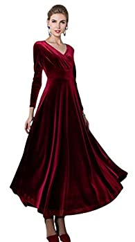 Urban CoCo Women Long Sleeve V-Neck Velvet Stretchy Long Dress  XX-Large Wine Red