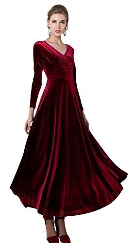 Urban GoCo, klassisches langes elastisches Damenkleid, Samt, V-Ausschnitt, lange Ärmel Gr. 46, weinrot