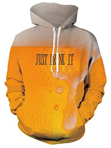 Spreadhoodie Hombre 3D Cerveza Imprimió Sudadera con Capucha Unisexo Hoodie Novedad Colorida Amarillo Estampada Camisetas Festival de Cerveza S/M