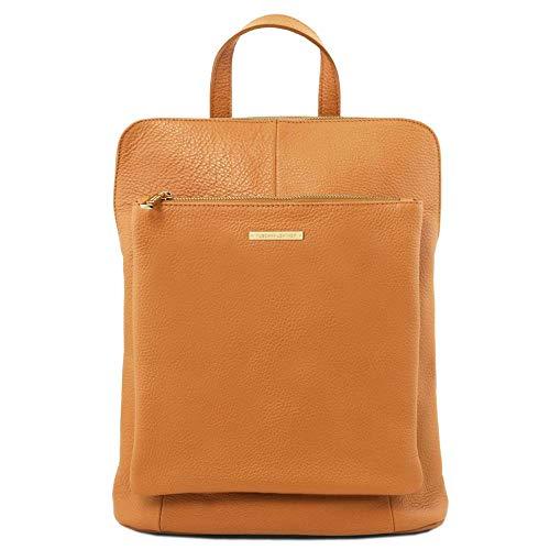 TUSCANY LEATHER - TL Bag - Dames rugzak gemaakt van zacht leer - Cognac (TL141682)