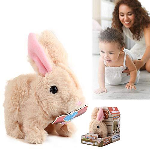 Speelgoed konijn, elektronisch konijn speelgoed, pluche knuffel konijn speelgoed, interactieve puppy pluche geanimeerd konijn, aanraakbediening, robot konijn voor jongens meisjes kinderen,B