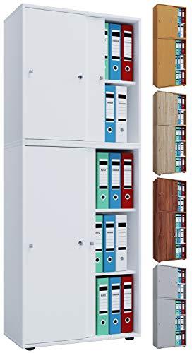 VCM Aktenregal Schrank Büromöbel Aktenschrank Büroregal Ordnerregal Lona 5-Fach Schiebetüren Weiß