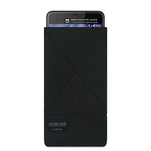 Adore June Tasche Triangle kompatibel mit HTC U Ultra, Elegante Handytasche aus beständigem Textil-Stoff mit Bildschirm-Reinigungseffekt, Schwarz