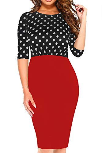 oxiuly Women's Vintage 1950s Style Boat Neck Slim Work Party Casual Pencil Midi Dress OX304