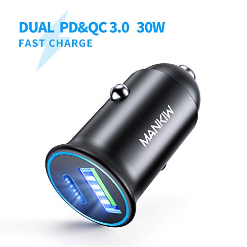 MANKIW USB C Car Charger PD&QC 3.0 Dual Port Car Adapter 30W Fast Car Charger Fit Compatible with iPhone 11/11 Pro/11 Pro Max/XS/XR/X/8, Samsung Note 10/S10/s9/s8/s7, Google Pixel 3/2/XL(Black)