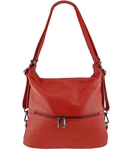Freyday 2in1 Rucksackhandtasche Designer Damen Handtasche Henkeltasche 100% Echtleder (Rot)