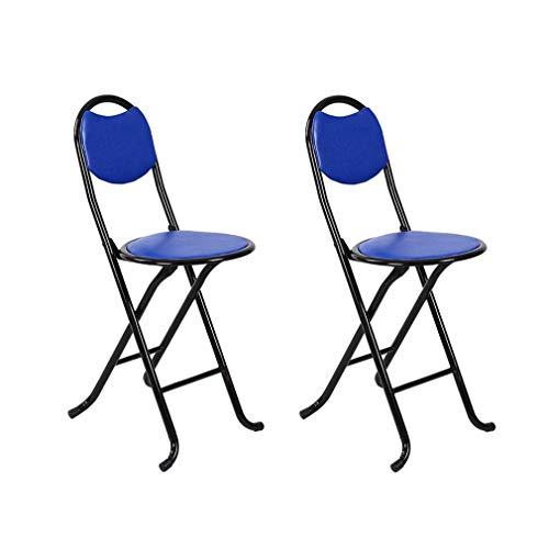 ECSD Chaise Haute Pliante Rembourrée pour Petit-déjeuner Cuisine Siège De Bar (Paquet De 2) (Couleur : Bleu)