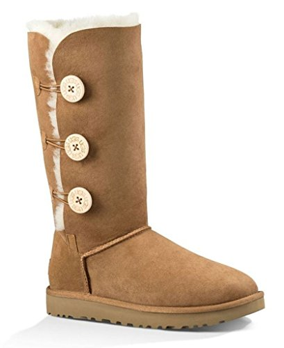 UGG Female Bailey Button Triplet II Classic Boot, Chestnut, 6 (UK)